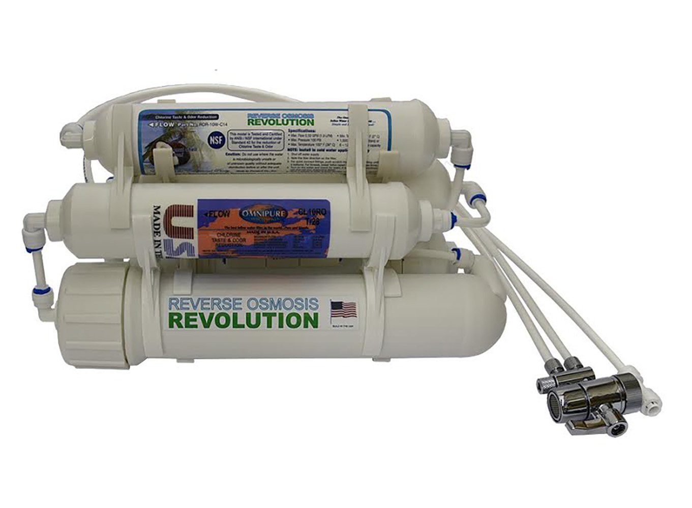 5-stage Reverse Osmosis Revolution Countertop Water Purification System for Ultrapure filtration with DI 0PPM, 75/100/150 GPD membrane