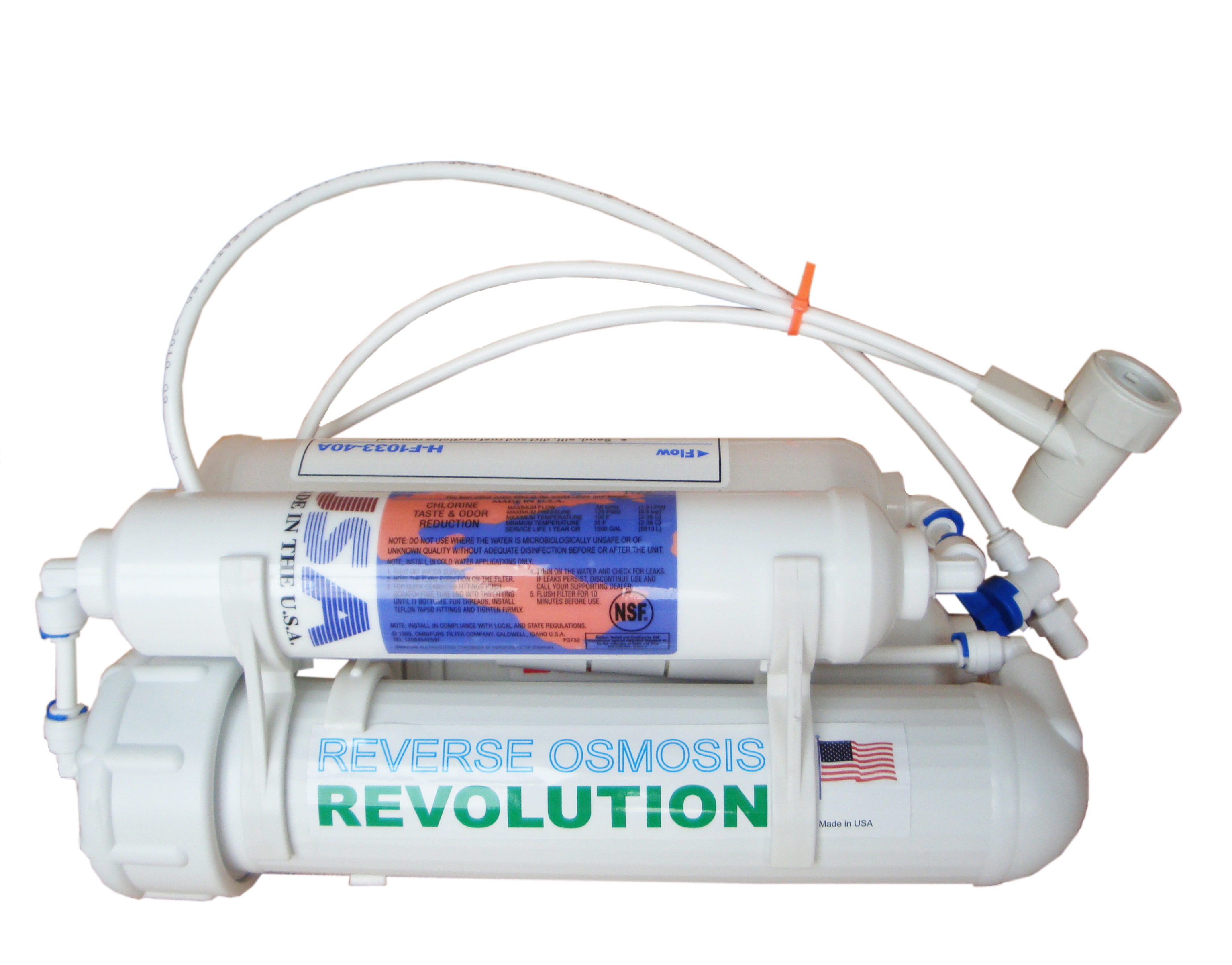 Aquarium 4-stage Reverse Osmosis Revolution Water Purification System with DI 0PPM  bed filtration, 75/100/125/150 GPD