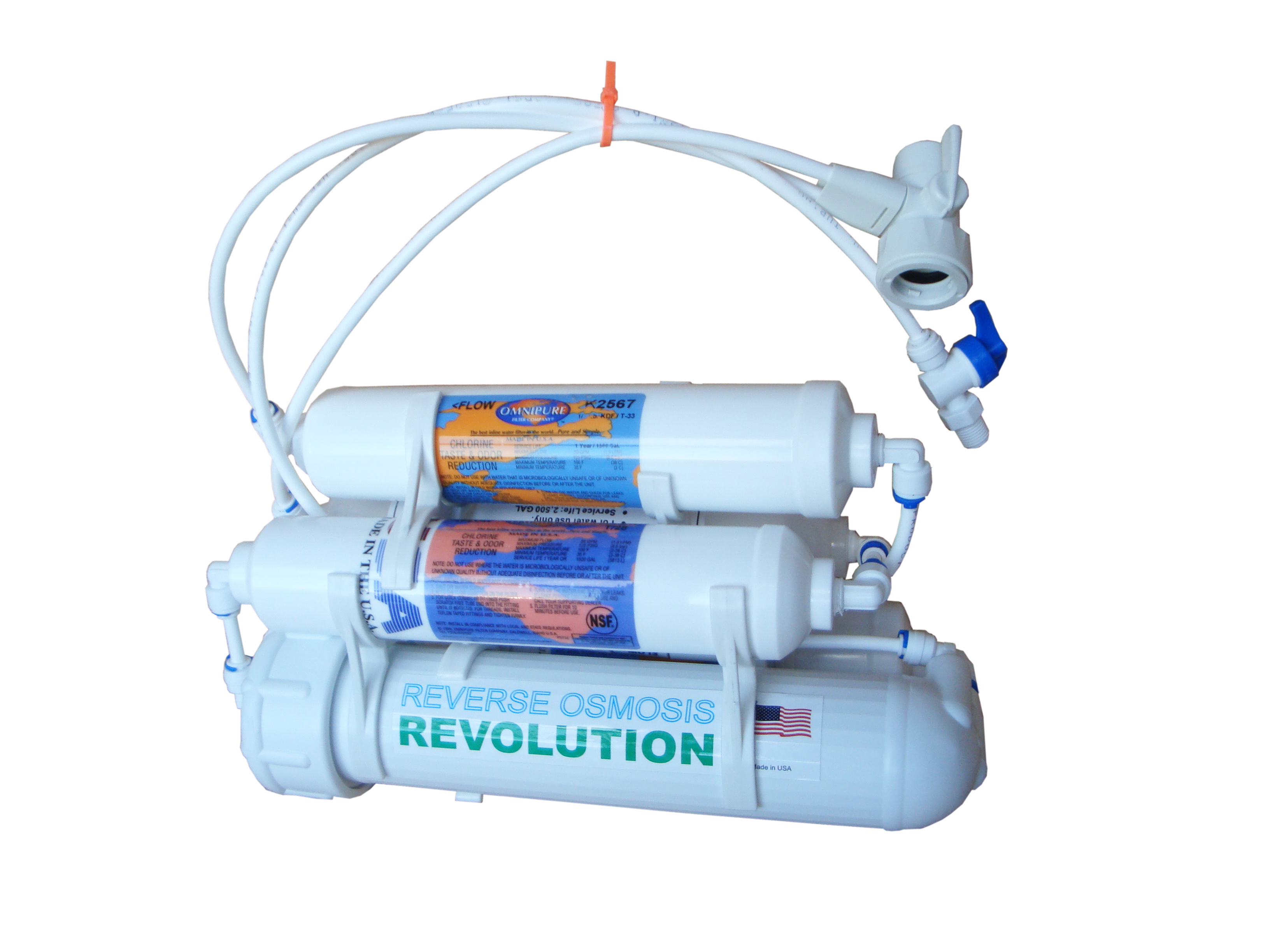 Antibacterial Universal 5-stage Reverse Osmosis Revolution Water Purification System with super KDF-55 and Deionizing Bed Filter, 75/100/150 GPD membrane