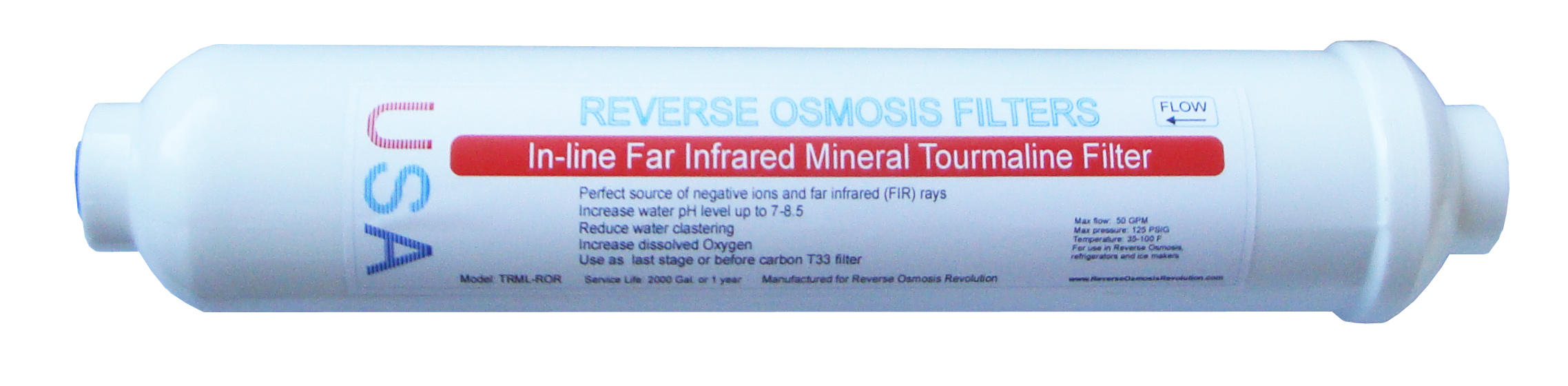 "Low Alkaline Far Infrared Mineral Tourmaline inline 10""x2"" filter"
