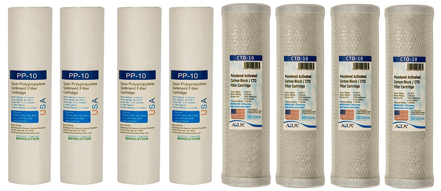 4 replacement filter set for Dual Stage Reverse Osmosis Revolution Whole House System (1 year supply)
