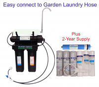 Black Series Expandable Home Drinking Reverse Osmosis System. Garden Laundry Hose connection. 50/75/100/125 GPD Membrane