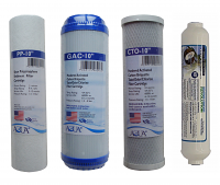 Universal Reverse Osmosis RO Replacement Set of 4 filters: Sediment, GAC, CTO and post GAC T33 for undercountertop RO