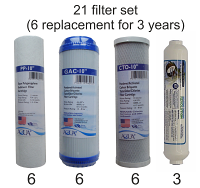 Universal Reverse Osmosis RO Replacement Set of 21 filters for 3-year supply. Free shipping (Continental US).