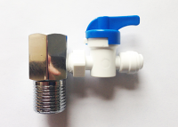 "1/2"" male x 1/2"" female water feeding tee adapter with valve for 1/4"" tubing"