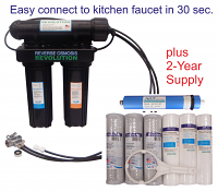 Black Series Expandable Home Drinking Reverse Osmosis System. Easy connect to your kitchen faucet. 50/75/100/125 GPD Membrane