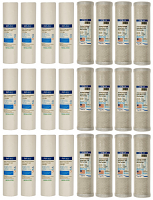 12 replacement filter sets for Dual Stage Reverse Osmosis Revolution Whole House System (3 year supply, 24 filters), Free shipping (Continental US).