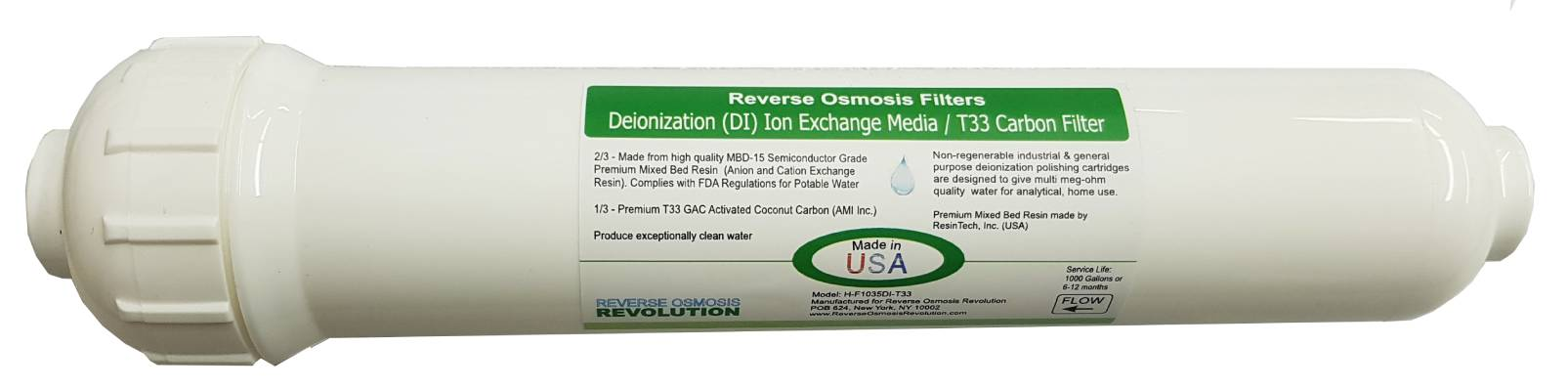 """Extra Capacity (11""""x2.5"""") Premium DI Ion Exchange Filter (0PPM), (2/3) and post GAC Carbon T33 (1/3)"""