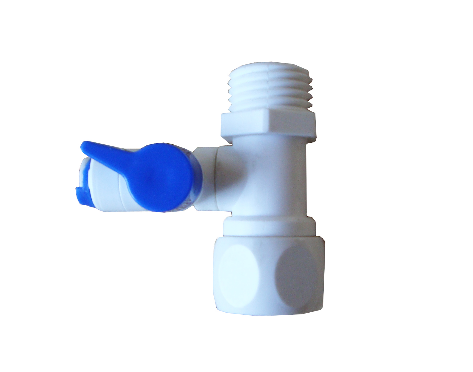 "Reverse Osmosis 1/2 x 1/2 x 1/4"" water feeding supply with valve"
