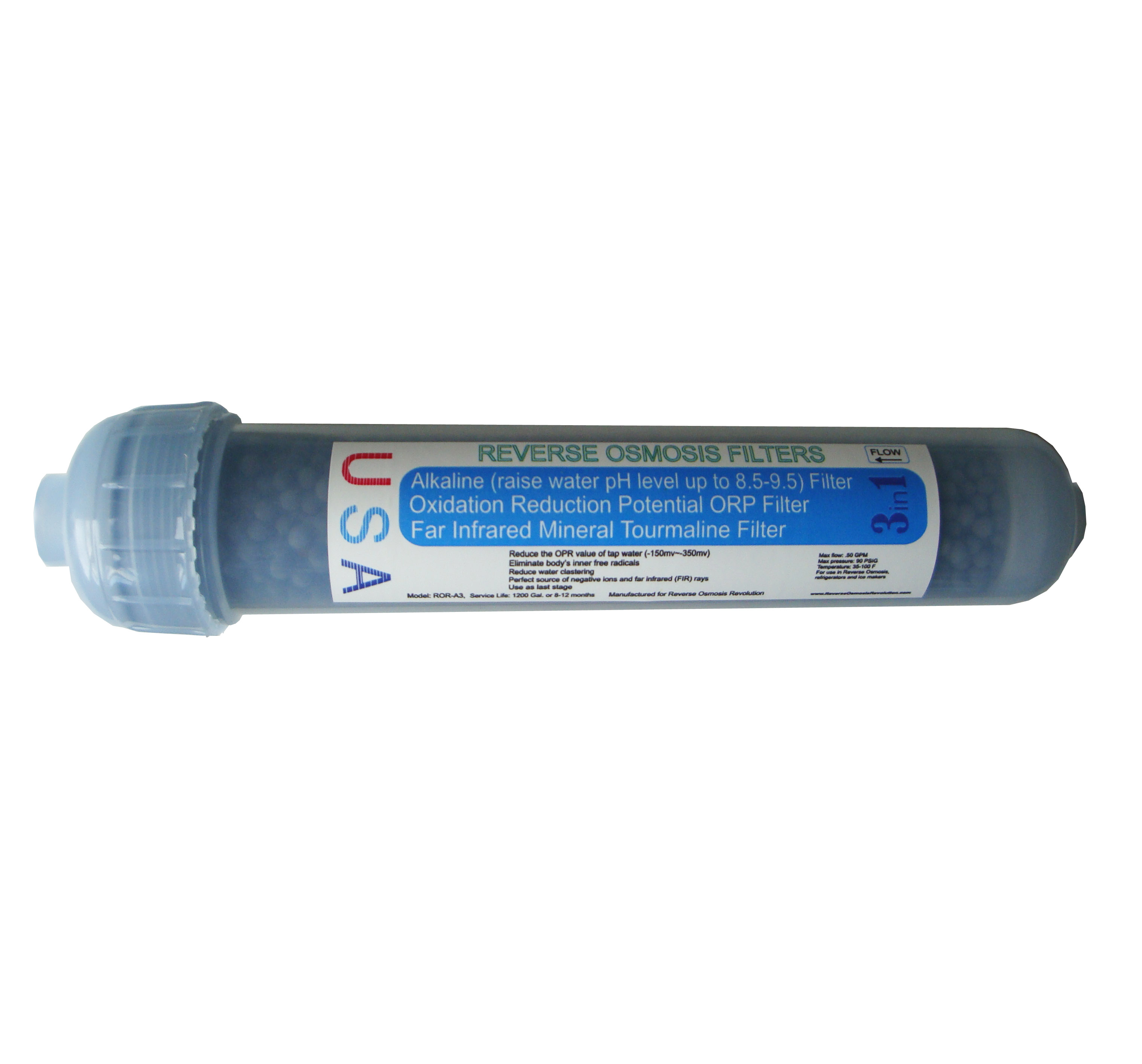 "3 in 1: Alkaline (raise pH level), ORP and Tourmaline in-line filter, 2""x10"""
