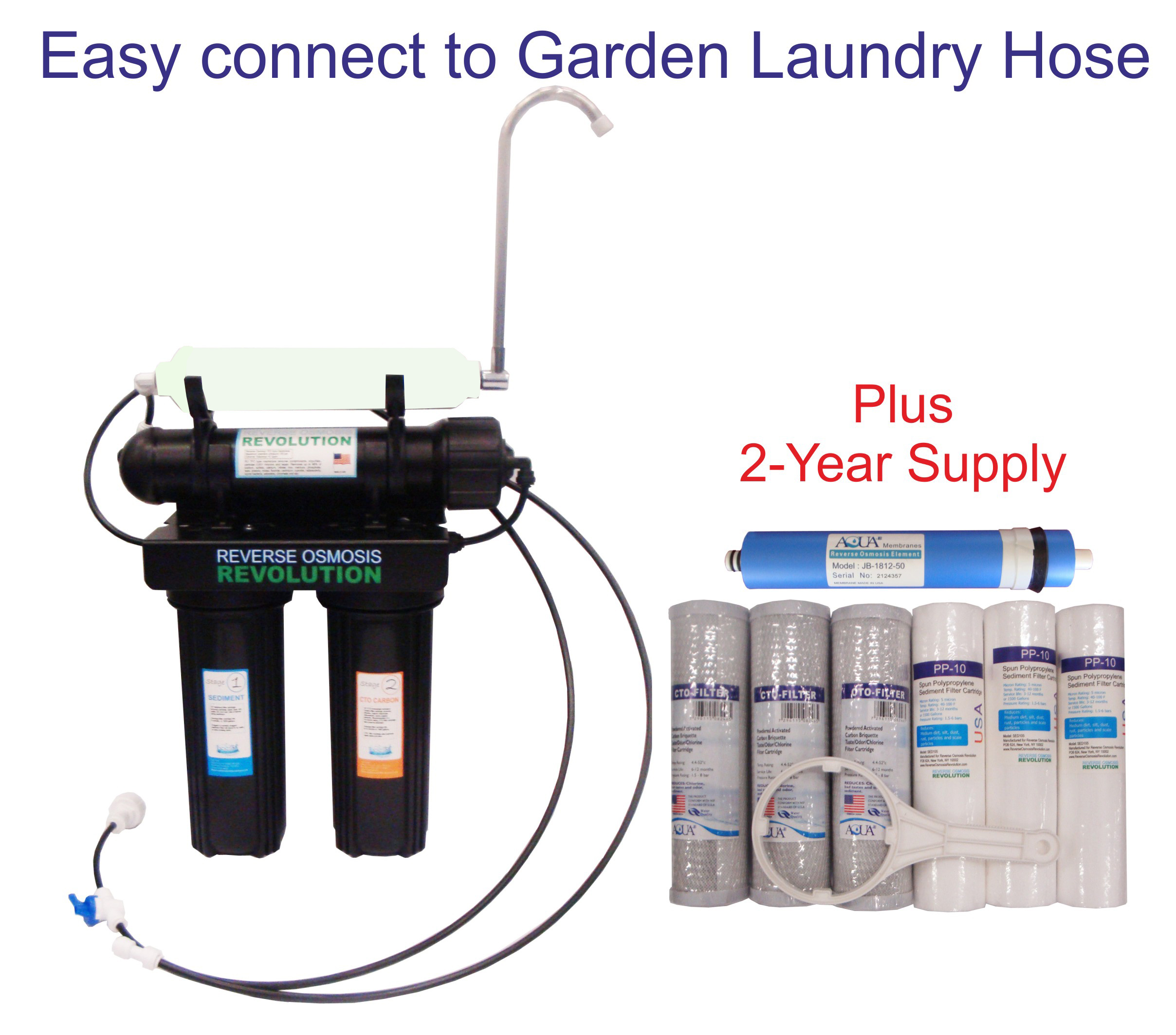 Black Series Expandable Home Drinking Reverse Osmosis System. Garden Laundry Hose connection. 50/75/100/150 GPD Membrane