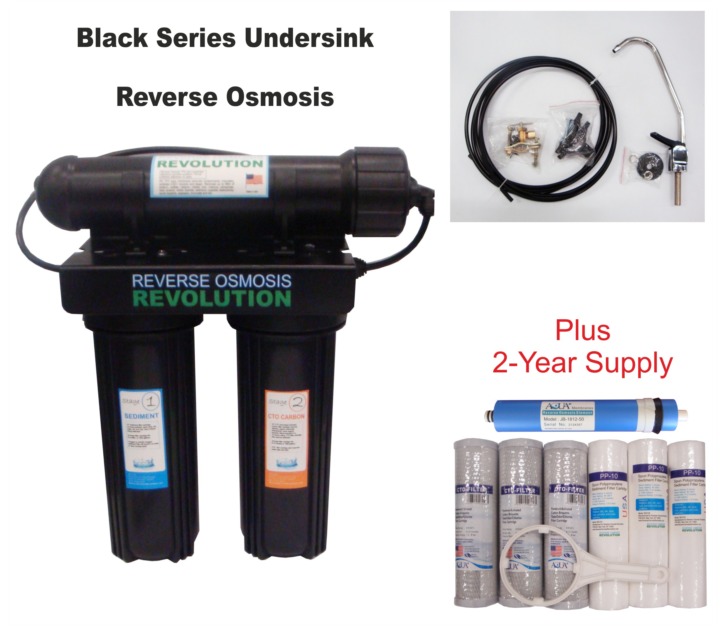 Black Series Expandable Home Drinking Reverse Osmosis System. Kitchen Undersink installation. 50/75/100/150 GPD Membrane