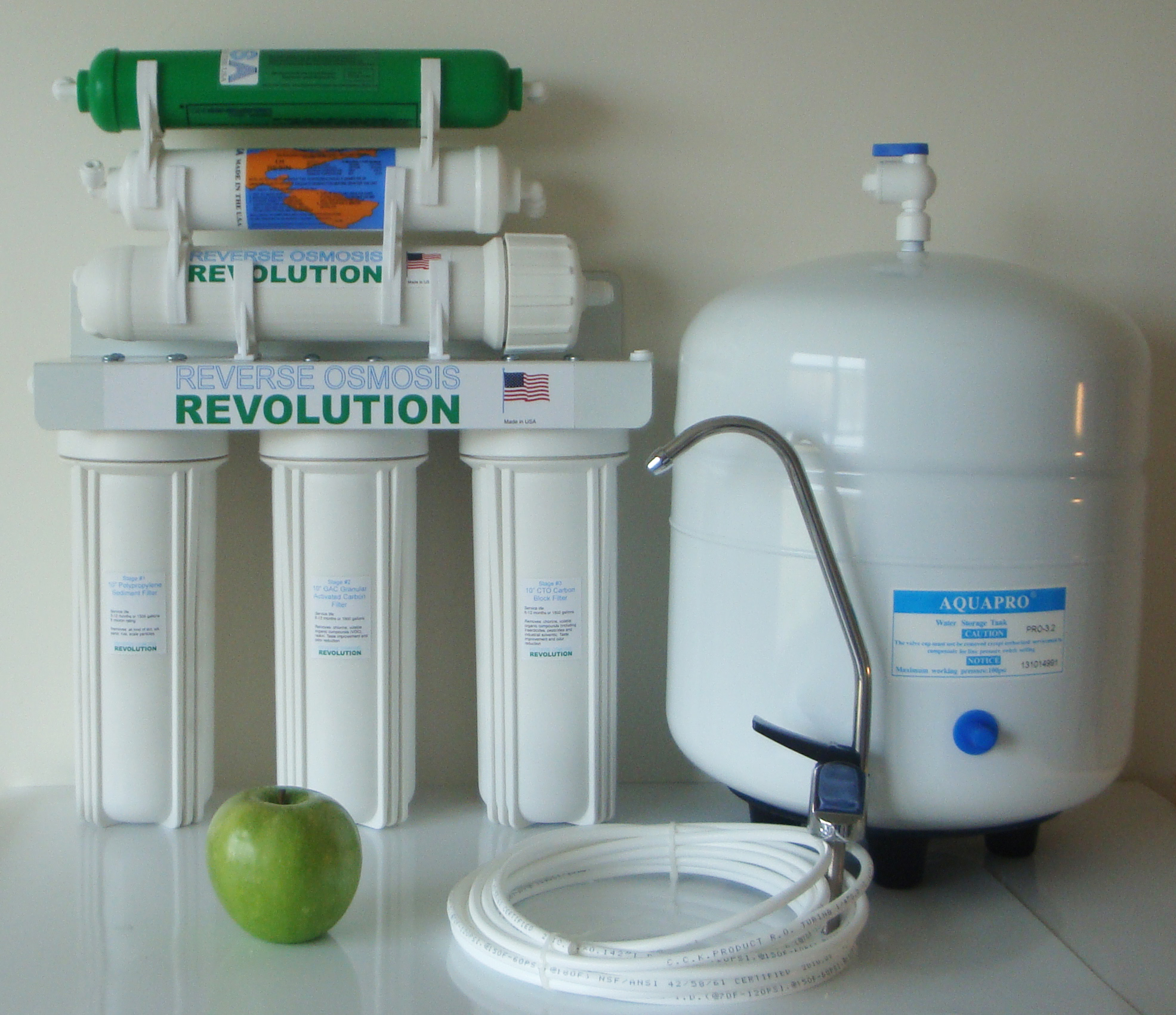 UltraPure 6 Stage Reverse Osmosis Water Purification System with double DI filtration, 50/75/100 GPD membrane