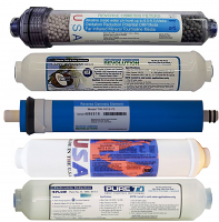 Universal 4 Filter Set plus 75 GPD Membrane for 5-stage Alkaline Countertop RO Systems, including 5m Sediment, T28 GAC, 75 GPD membrane, T33 GAC , 3-in-1 Alkaline filters